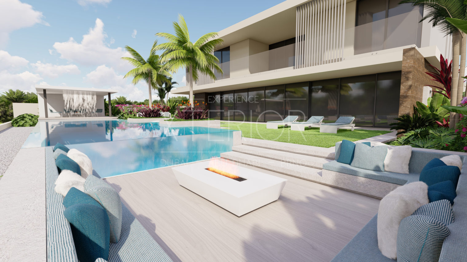 Shimmering wishes swimming pool and landscape company in dubai and abu dhabi project in under construction pergola modern swimming pool design build (1)