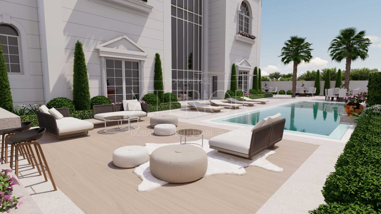 outdoor seating area near pool side
