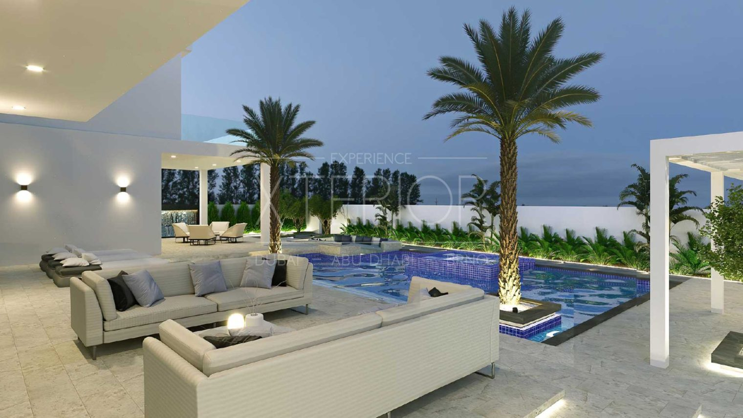 outdoor seating area with pool