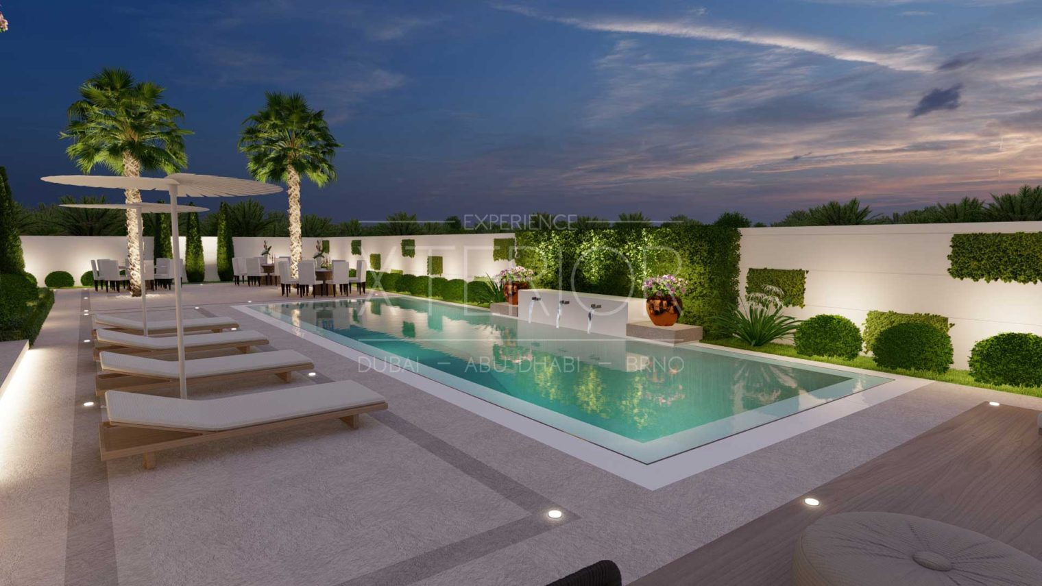 sundeck area with swimming pool design