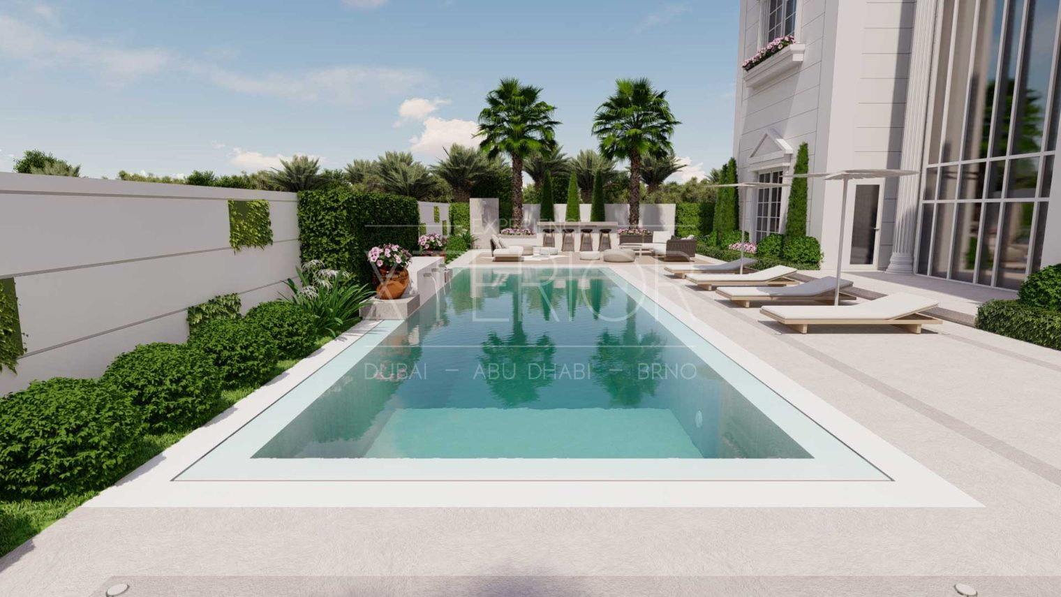 swimming pool design with sundeck area